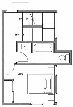 Second Floor Plan of Centro Townhomes Unit 363D in Seattle by Isola Homes