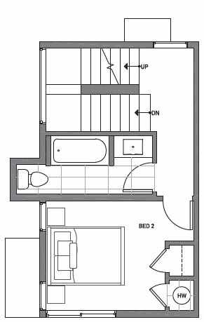 Second Floor Plan of Centro Townhomes Unit 363A in Seattle by Isola Homes