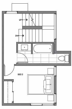 Second Floor Plan of Centro Townhomes Unit 363B in Seattle by Isola Homes