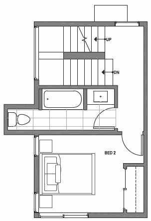 Second Floor Plan of Centro Townhomes Unit 363E in Seattle by Isola Homes