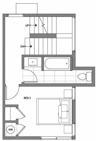 Second Floor Plan of Centro Townhomes Unit 363F in Seattle by Isola Homes