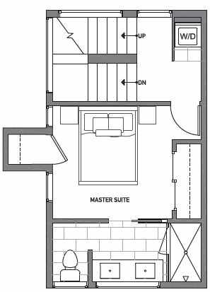 Third Floor Plan of Centro Townhomes Unit 363C in Seattle by Isola Homes