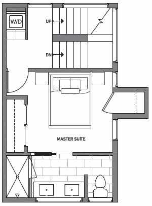 Third Floor Plan of Centro Townhomes Unit 363D in Seattle by Isola Homes