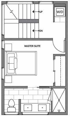 Third Floor Plan of Centro Townhomes Unit 363A in Seattle by Isola Homes