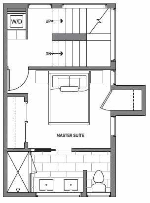 Third Floor Plan of Centro Townhomes Unit 363B in Seattle by Isola Homes