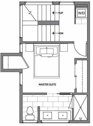 Third Floor Plan of Centro Townhomes Unit 363E in Seattle by Isola Homes