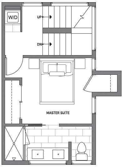 Third Floor Plan of Centro Townhomes Unit 363F in Seattle by Isola Homes