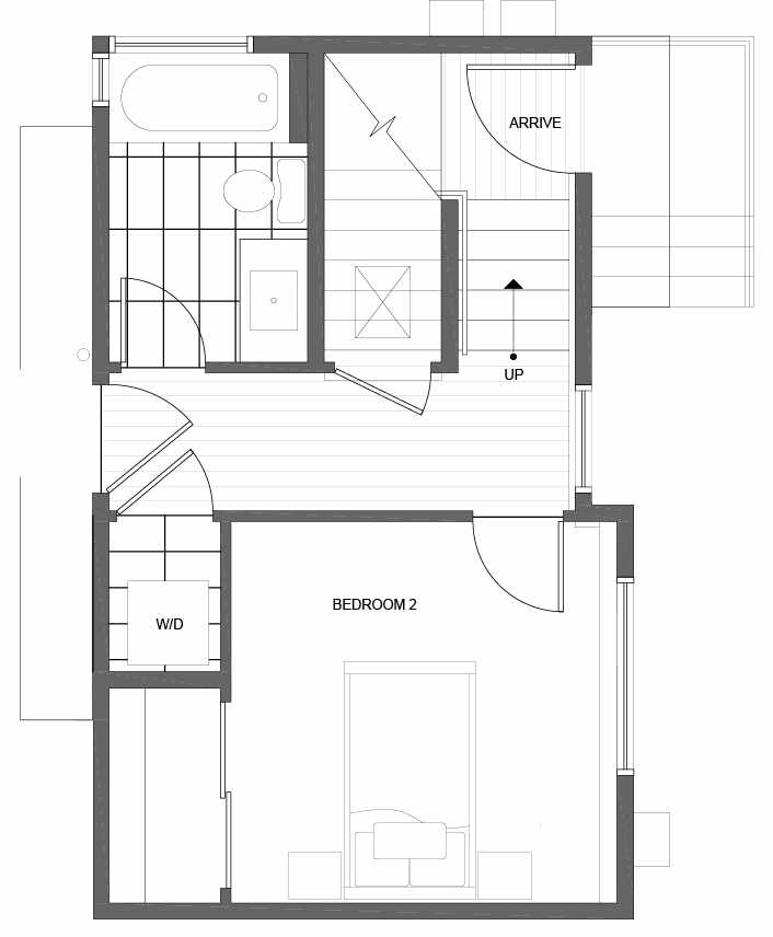 First Floor Plan of 1035 NE Northgate Way, a Lily Townhome