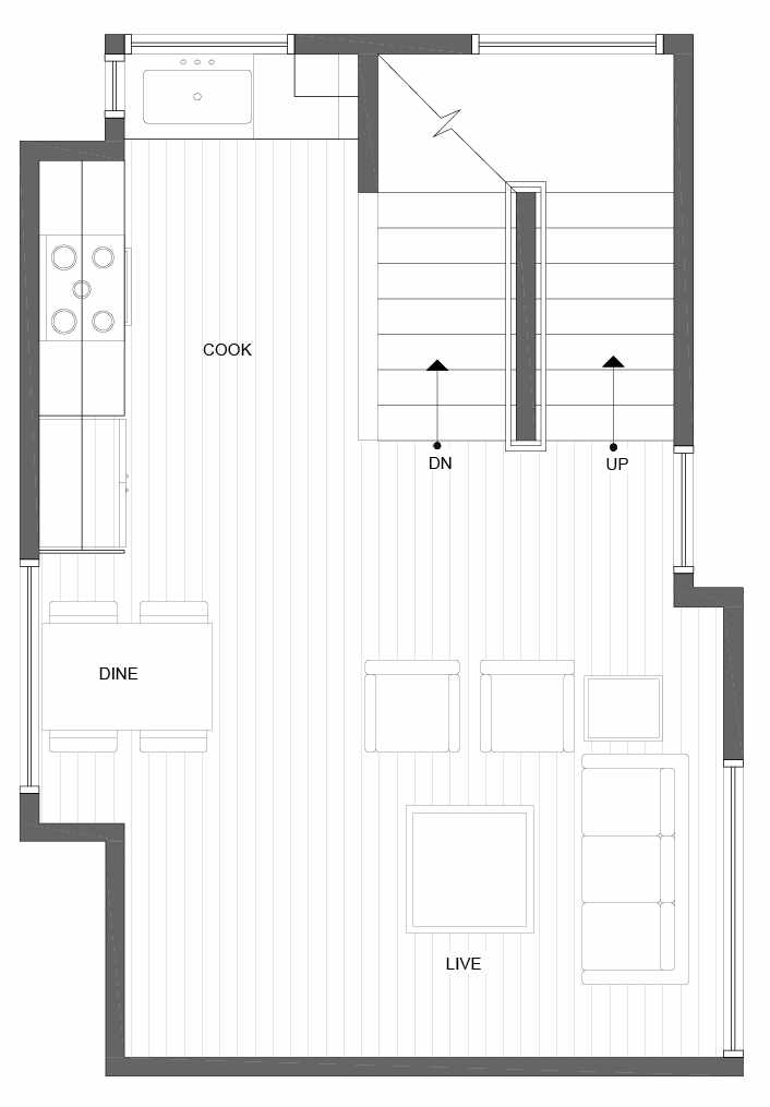 Second Floor Plan of 1035 NE Northgate Way, a Lily Townhome