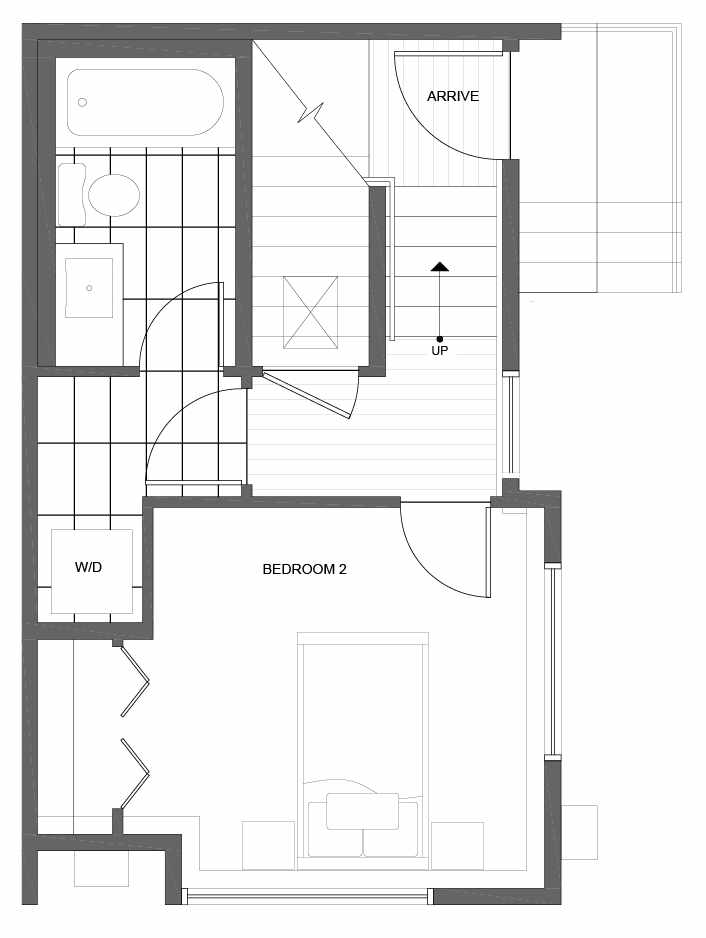 First Floor Plan of 1037 NE Northgate Way, One of the Lily Townhomes in Maple Leaf by Isola Homes