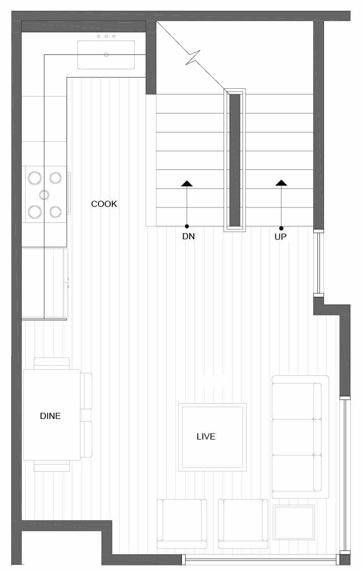 Second Floor Plan of 1037 NE Northgate Way, One of the Lily Townhomes in Maple Leaf by Isola Homes