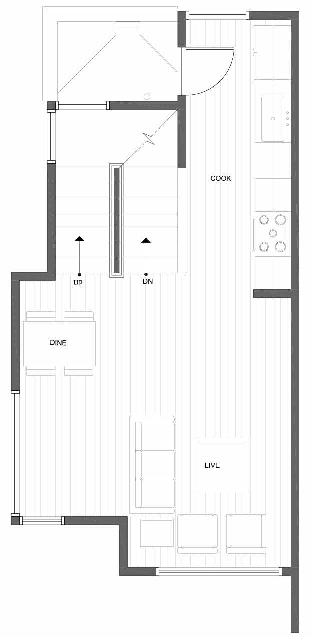 Second Floor Plan of 10839 11th Ave NE, One of the Lily Townhomes in Maple Leaf by Isola Homes