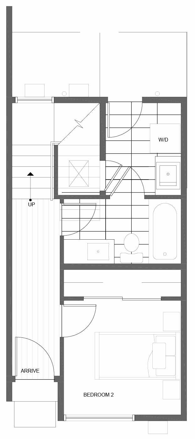 First Floor Plan of 10843 11th Ave NE, One of the Lily Townhomes in Maple Leaf by Isola Homes