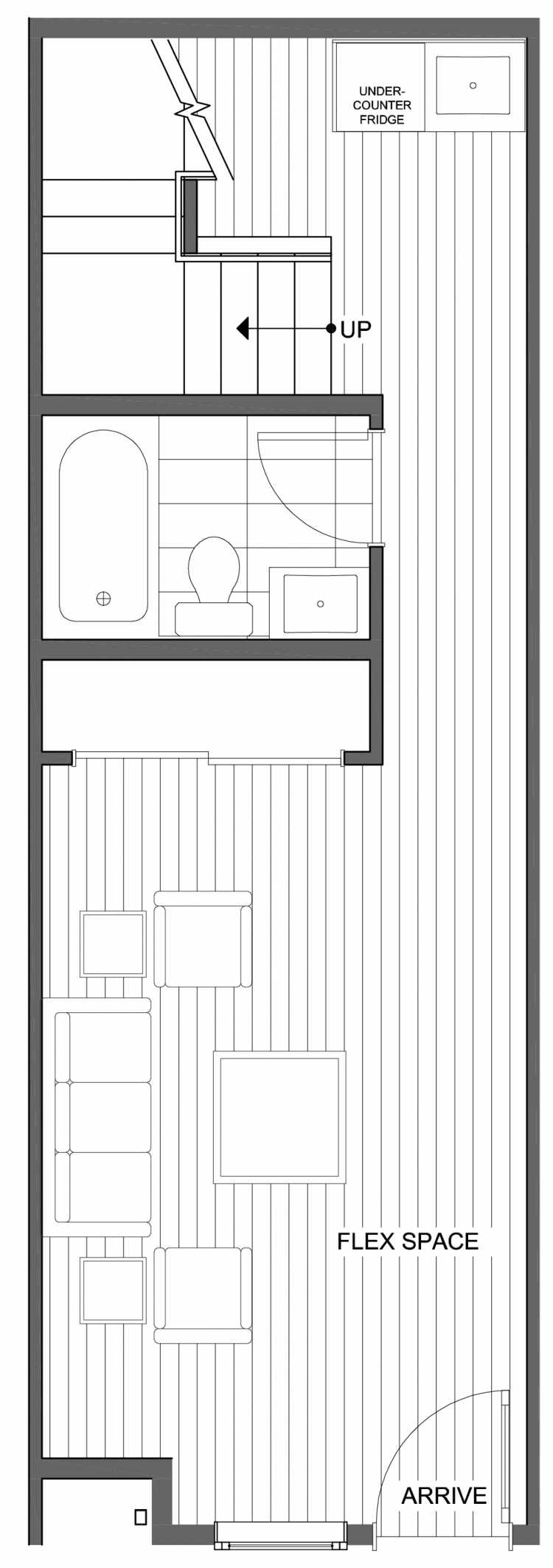 First Floor Plan of 806F N 46th St, One of the Nino 15 East Townhomes by Isola Homes