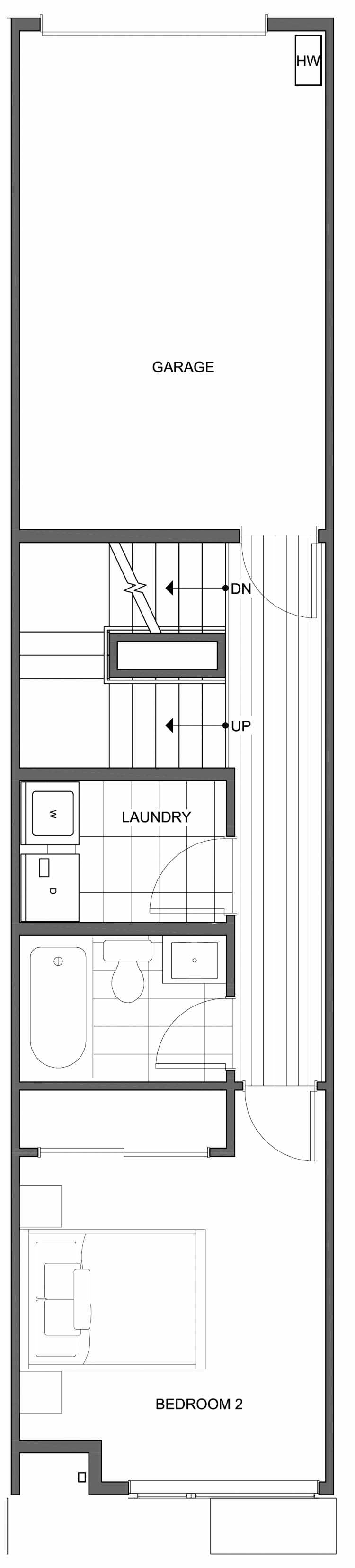Second Floor Plan of 806D N 46th St, One of the Nino 15 East Townhomes by Isola Homes