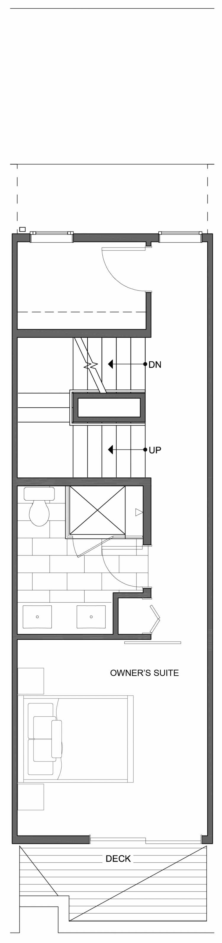 Fourth Floor Plan of 806D N 46th St, One of the Nino 15 East Townhomes by Isola Homes