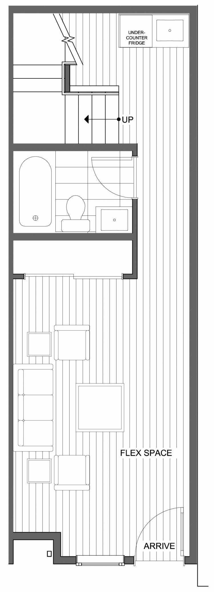First Floor Plan of 806G N 46th St, One of the Nino 15 East Townhomes by Isola Homes