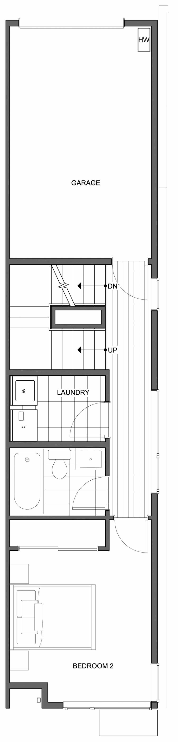 Second Floor Plan of 806G N 46th St, One of the Nino 15 East Townhomes by Isola Homes