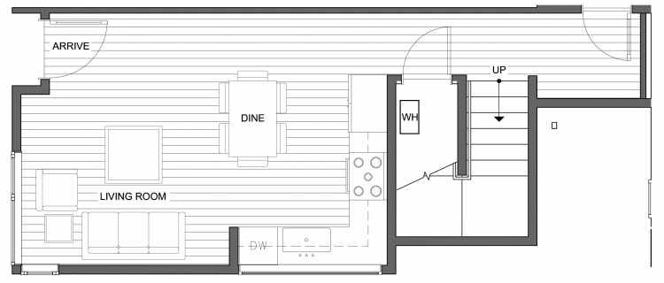 First Floor Plan of 4630 Linden Ave N, One of the Nino 15 West Townhomes in Fremont by Isola Homes