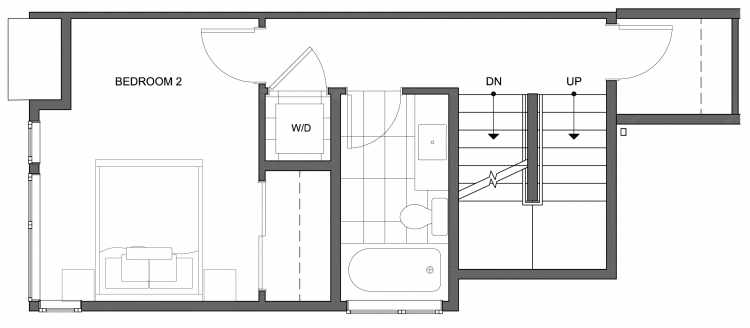Second Floor Plan of 4630 Linden Ave N, One of the Nino 15 West Townhomes in Fremont by Isola Homes