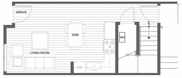 First Floor Plan of 4632 Linden Ave N, One of the Nino 15 West Townhomes in Fremont by Isola Homes