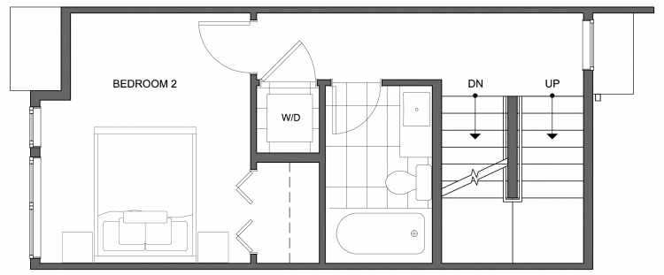 Second Floor Plan of 4634 Linden Ave N, One of the Nino 15 West Townhomes in Fremont by Isola Homes