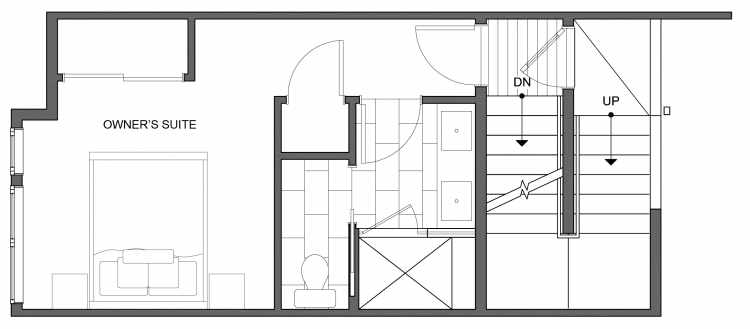 Third Floor Plan of 4634 Linden Ave N, One of the Nino 15 West Townhomes in Fremont by Isola Homes