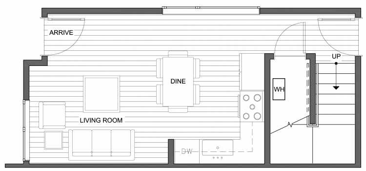 First Floor Plan of 4640 Linden Ave N, One of the Nino 15 West Townhomes in Fremont by Isola Homes