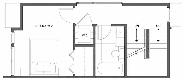 Second Floor Plan of 4640 Linden Ave N, One of the Nino 15 West Townhomes in Fremont by Isola Homes