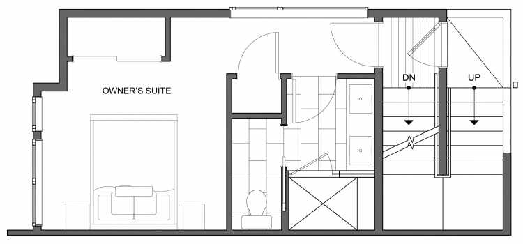 Third Floor Plan of 4640 Linden Ave N, One of the Nino 15 West Townhomes in Fremont by Isola Homes