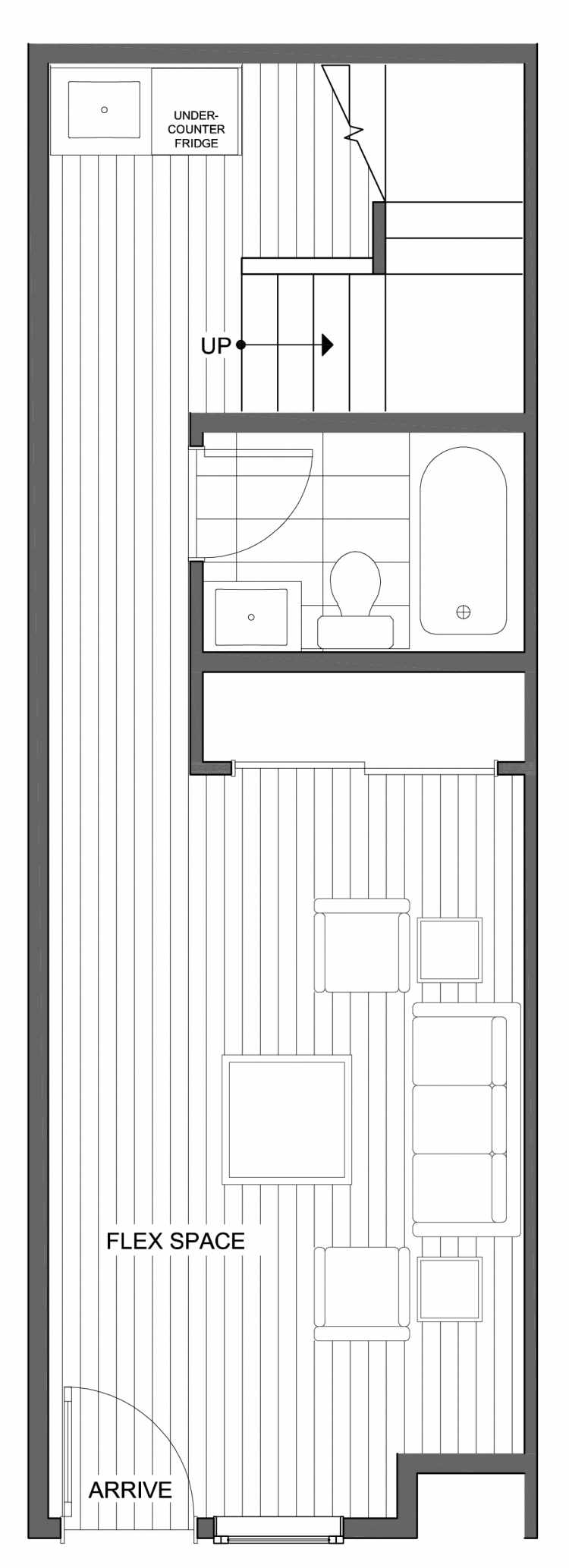 First Floor Plan of 802 N 46th St, One of the Nino 15 West Townhomes in Fremont by Isola Homes