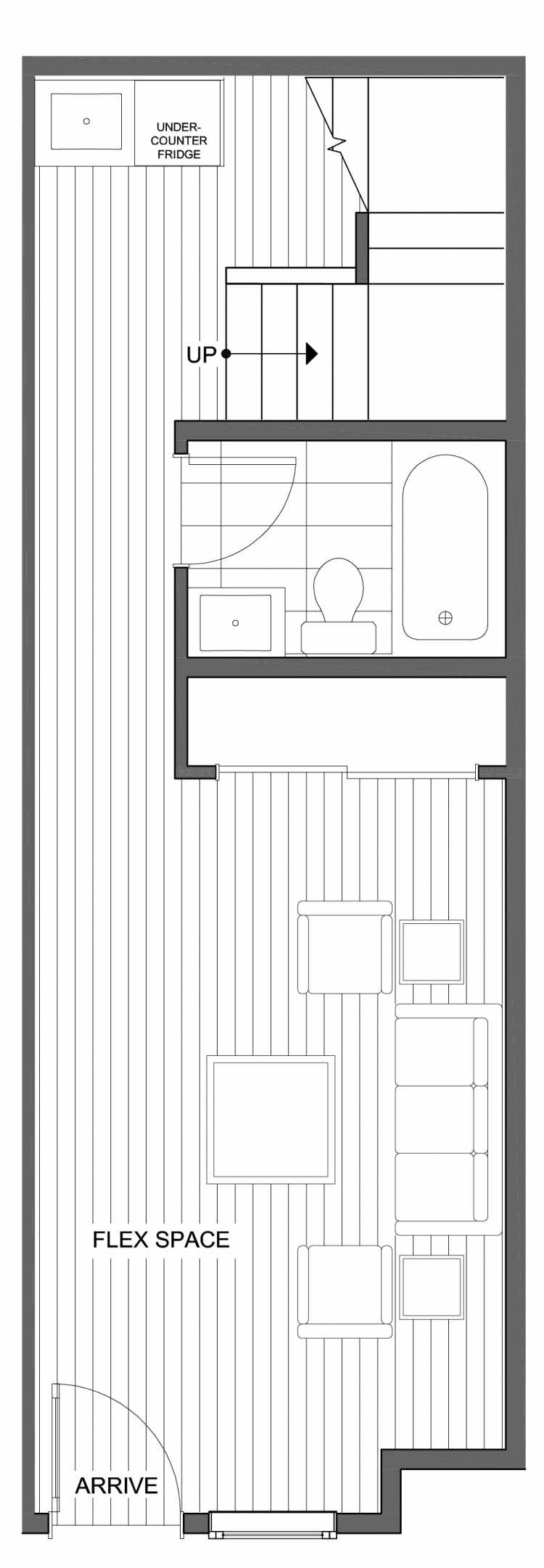 First Floor Plan of 804 N 46th St, One of the Nino 15 West Townhomes in Fremont by Isola Homes