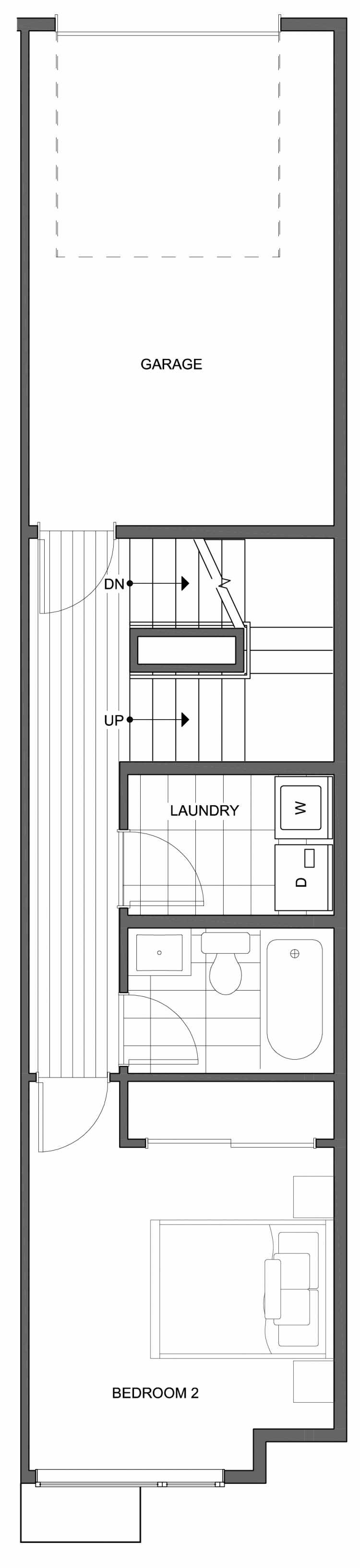 Second Floor Plan of 804 N 46th St, One of the Nino 15 West Townhomes in Fremont by Isola Homes