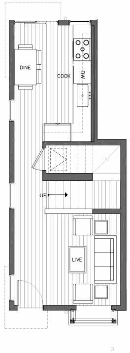 First Floor Plan of 6503A Phinney Ave N, One of the Baker Townhomes in The Peaks at Phinney Ridge by Isola Homes