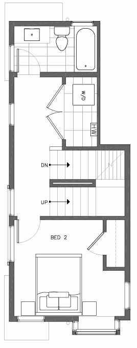 Second Floor Plan of 6503A Phinney Ave N, One of the Baker Townhomes in The Peaks at Phinney Ridge by Isola Homes