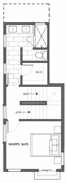 Third Floor Plan of 6503A Phinney Ave N, One of the Baker Townhomes in The Peaks at Phinney Ridge by Isola Homes