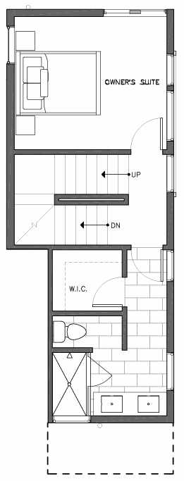 Third Floor Plan of 6503B Phinney Ave N, One of the Baker Townhomes in The Peaks at Phinney Ridge by Isola Homes