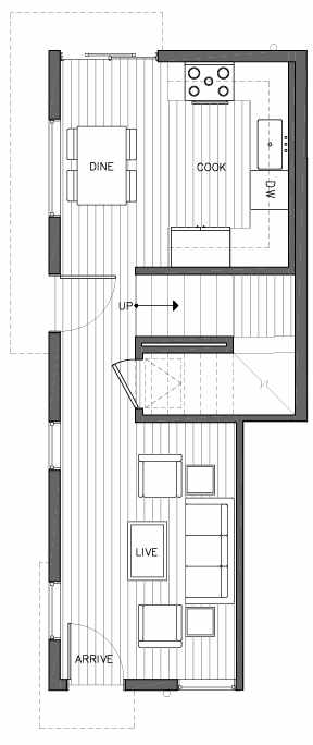 First Floor Plan of 6505A Phinney Ave N, One of the Baker Townhomes in The Peaks at Phinney Ridge by Isola Homes