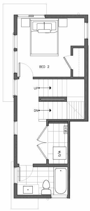 Second Floor Plan of 6505A Phinney Ave N, One of the Baker Townhomes in The Peaks at Phinney Ridge by Isola Homes