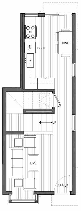 First Floor Plan of 6505B Phinney Ave N, One of the Baker Townhomes in The Peaks at Phinney Ridge by Isola Homes