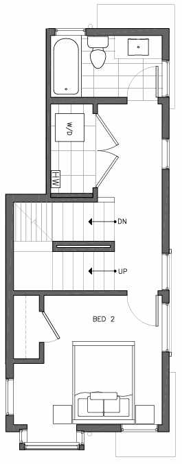 Second Floor Plan of 6505B Phinney Ave N, One of the Baker Townhomes in The Peaks at Phinney Ridge by Isola Homes