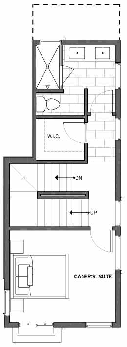 Third Floor Plan of 6505B Phinney Ave N, One of the Baker Townhomes in The Peaks at Phinney Ridge by Isola Homes