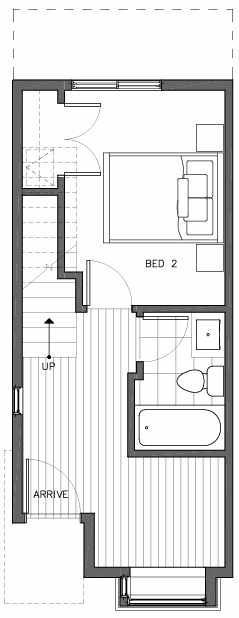 First Floor Plan of 6511A Phinney Ave N, One of the Homes in The Peaks at Phinney Ridge by Isola Homes