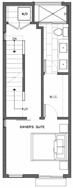 Third Floor Plan of 6511A Phinney Ave N, One of the Homes in The Peaks at Phinney Ridge by Isola Homes