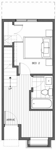 First Floor Plan of 6511E Phinney Ave N, One of the Homes in The Peaks at Phinney Ridge by Isola Homes