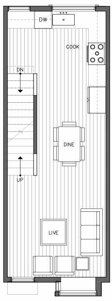 Second Floor Plan of 6511B Phinney Ave N, One of the Homes in The Peaks at Phinney Ridge by Isola Homes
