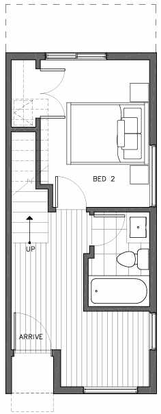 First Floor Plan of 6511G Phinney Ave N, One of the Homes in The Peaks at Phinney Ridge by Isola Homes