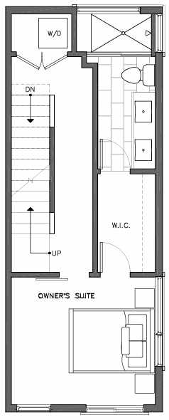 Third Floor Plan of 6511G Phinney Ave N, One of the Homes in The Peaks at Phinney Ridge by Isola Homes