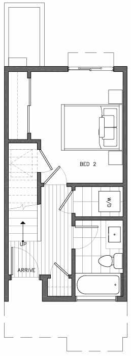 First Floor Plan of 6517E Phinney Ave N, One of the Rainier Townhomes in The Peaks at Phinney Ridge by Isola Homes