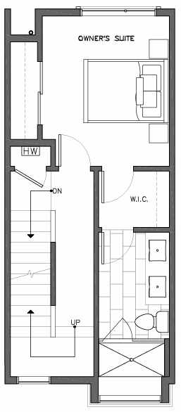 Third Floor Plan of 6517F Phinney Ave N, One of the Rainier Townhomes in The Peaks at Phinney Ridge by Isola Homes